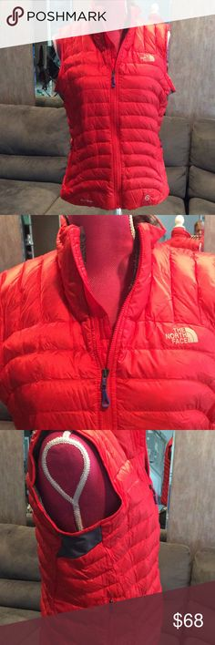 North Face Summit Series red puffy vest Beautiful and warm!!  North Face red puffy Summit Series vest. Dark gray stretchy fabric under both arm holes. Double front zip pockets. Gray logo front and back. North Face Jackets & Coats