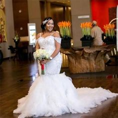 African Plus Size Wedding Dresses Spaghetti Straps Lace Appliques Beadding Capped Mermaid Wedding Dress Tiered Tulle Long Bridal Gowns High Quality Wedding Dress Train, Wedding Dresses Plus Size, Tulle Wedding, White Wedding Dresses, Cheap Wedding Dress, Bridal Dresses, Wedding Gowns, Mermaid Wedding, Ivory Wedding