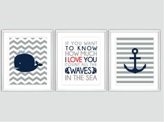 Nautical Nursery art - Baby Boy Nursery Art Chevron Whale Nursery Prints, Boy Nautical Nursery, Childrens decor. Inspirational Quotes