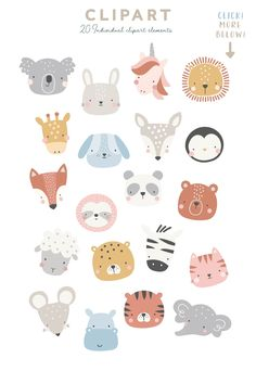 Cute Animal Faces by dottyink on Cute Animal Illustration, Cute Animal Drawings, Cute Drawings, Illustration Art, Animal Doodles, Cute Doodles, Animal Faces, Cute Stickers, Doodle Art