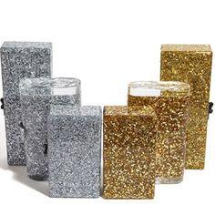 Flavia Solid Gold Confetti Fashionable Clutch | Edie Parker