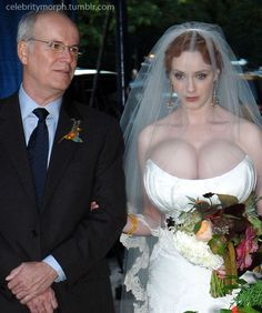 Christina Hendricks not too sure about the altar walk. With those boobies, she should feel pretty confident.