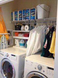 Quick, easy way to add storage to a laundry room with Rubbermaid Closet Helper