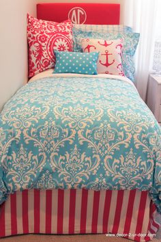 Girly Blue Duvet and Sham Set with Design Ur Own Pink Accessories and Pillows. Coral and teal designer bedding set. Available in all bed sizes: twin, full/queen, and king. Custom pillows, exclusive bed scarf, window panels, wall art, bed skirts, and custom monogramming! Custom made designer bedding and accessories.