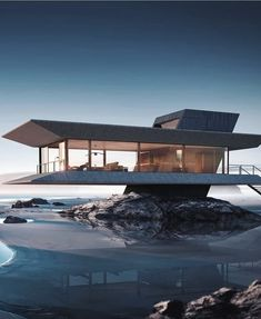 Amazing concrete, glass and steel house suspended over a beach. - Amazing concrete, glass and steel house suspended over a beach. Seems to get your feet wet at high - Futuristic Architecture, Beautiful Architecture, Contemporary Architecture, Interior Architecture, Computer Architecture, Architecture Definition, Origami Architecture, Minimal Architecture, Building Architecture