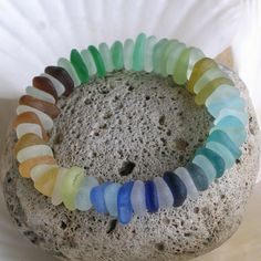 Natural Sea Glass Rare Colors 7 inch Stretch by TidelineDesigns, $139.00