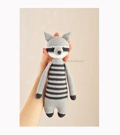 Crochet Raccoon Stuffed Raccoon Raccoon Plush by EMERENstore