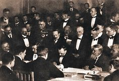 Signing of the Treaty of Brest-Litovsk (February by Count Ottokar Czernin, Richard von Kühlmann and Vasil Radoslavov, 9 February Brest Litovsk, Military Holidays, Historical Images, World War I, Wwi, First World, The Twenties, Russia, February 9