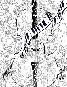 Adult Coloring Page Printable Adult Violin door JuleezGallery
