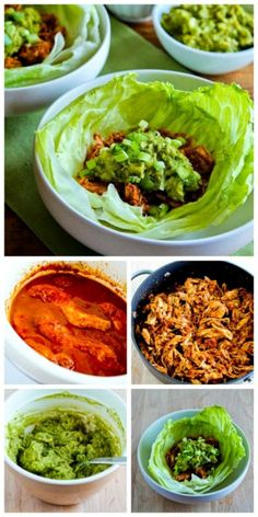Slow Cooker Low-Sugar Pulled Chicken (or pork) Lettuce Wraps from Kalyn's Kitchen are absolutely perfect for a summer dinner, and cooking the meat in the slow cooker will keep the kitchen cool! [found on SlowCookerFromScratch.com]