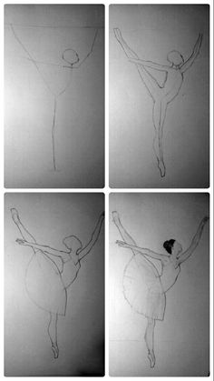 dancing drawings Draw a ballerina in four steps Ballerina Kunst, Ballerina Sketch, Ballerina Painting, How To Draw Ballerina, Ballerina Project, Art Drawings Sketches Simple, Pencil Art Drawings, Easy Drawings, Drawing Tips