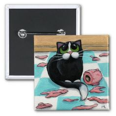 Cute, but very Naughty Cat Button - Bad kitty!