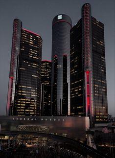 The evil lair of General Motors : evilbuildings Architecture Building Design, Architecture Concept Drawings, Home Building Design, Futuristic Architecture, Black Building, Mix Use Building, Future Buildings, City Vibe, Amazing Buildings