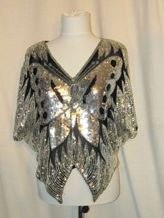 Sz L Black Silver Butterfly Sequin Evening Top Bat Wing Sleeves Check Measuremen