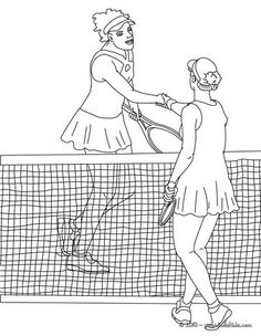 Tennis Players Shaking Hand Coloring Page More Sports Pages On Hellokids
