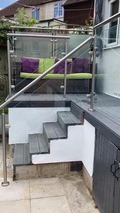 Balcony Glass Design, Glass Balcony Railing, Indoor Railing, Balcony Railing Design, Glass Stairs, Terrace Design, Staircase Design, Glass Stair Balustrade, Glass Suppliers