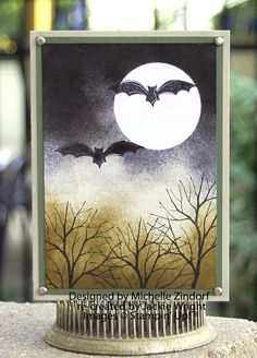 handmade Halloween card ... sponged and stamped scene ... luv the artsy look ... Stampin' Up!
