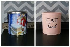 Christmas popcorn tin repurposed into cat food tin.
