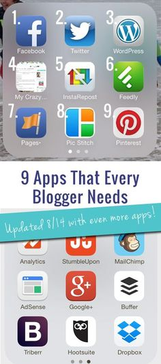 The 9 Must-Have Apps for Bloggers(updated to include 9 MORE apps!) - My Crazy Good Life Blog, Blogging Business #blog