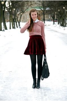 Discover this look wearing Suede Chicwish Skirts, Tamaris Boots, Pull&Bear Sweaters, Thrifted Shirts - preppy vibes by BowtieDiary styled for Preppy, School in the Winter Winter Outfit For Teen Girls, Winter Outfits Women, Casual Winter Outfits, Cute Skirts, Mini Skirts, Leggins Casual, Chicwish Skirt, Velvet Mini Skirt, Velvet Fashion