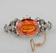Spectacular large Madeira citrine and diamond rare Victorian brooch