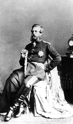 """Photo of Crown Prince Frederick III """"Fritz"""" (Friedrich Wilhelm Nikolaus Karl) (18 Oct 1831-15 Jun 1888) Germany sitting in full military uniform by unknown photographer (Ray Gottschall Collection). Husband of Empress Victoria """"Vicky"""" (Victoria Adelaide Mary Louisa) (21 Nov 1840–5 Aug 1901) UK. A French journalist wrote """"The Crown Prince left countless traits of kindness & humanity in the land that he fought against."""""""