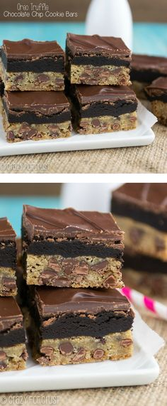 Oreo Truffle Chocolate Chip Cookie Bars | crazyforcrust.com | The best combo ever! Chocolate Chip Cookies meet Oreo Truffles @Ian Hahn for Crust