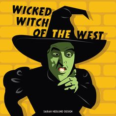 Day 12: The wicked witch of the west from The Wizard of Oz (1939) the Queen of movie witches! Art by Sarah Hedlund Design, www.sarahhedlund.com. #witch #witches #halloween #wizardofoz