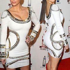 Fashion Gold-tone Round Neck Long Sleeve Dress