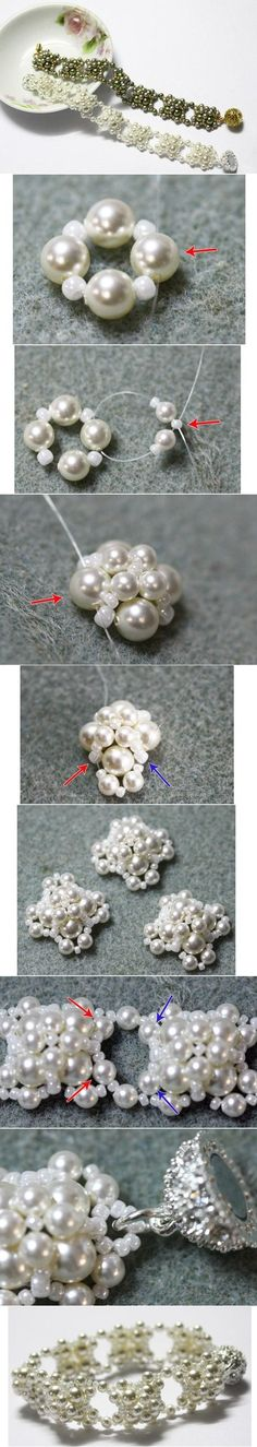Pulsera con perlas, paso a paso