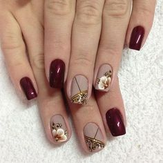 14 Amazing Nail Art Designs Inspired From Red And Black Cute Nails, Pretty Nails, My Nails, Glamour Nails, Floral Nail Art, Nagel Gel, Flower Nails, Creative Nails, Nail Manicure