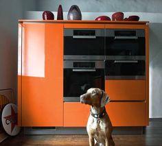 Bright orange wall unit