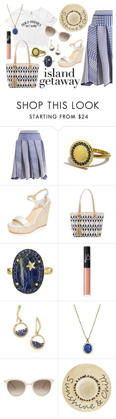 """A Bridge to Another Island"" by wearyourdissent on Polyvore featuring Issey Miyake, Badgley Mischka, Spartina 449, Andrea Fohrman, NARS Cosmetics, Aurélie Bidermann, Chopard, Betsey Johnson and Theresistance"