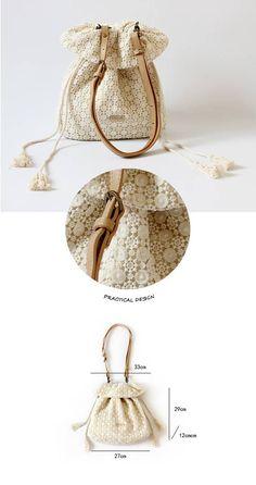 Handmade Shabby Chic Cotton Wedding Bag Lace Bag Cross Body