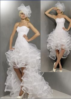 Short in front, long in back wedding dress