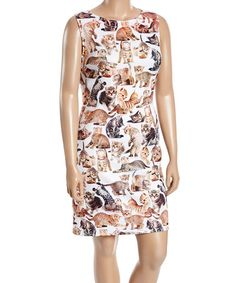 Another great find on #zulily! White & Tan Cat Shift Dress - Plus #zulilyfinds