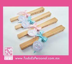 recuerdos para baby shower abanico madera liston rosa azul gemelos twins detalles embarazo nacimiento bebe original economico