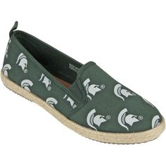 Michigan State Spartans Women's Espadrille Canvas Shoes is available now at FansEdge. Striped Shoes, Women's Espadrilles, Michigan State Spartans, Flip Flops, Canvas, Fitness, Sports, Pride, Passion