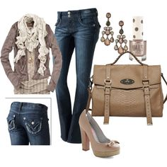 A fashion look from August 2011 featuring 81 Hours cardigans, Candie's jeans and Betsey Johnson pumps. Browse and shop related looks.