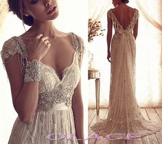 Sexy Low V Neckline Summer Beach Wedding Dresses with by OLACE