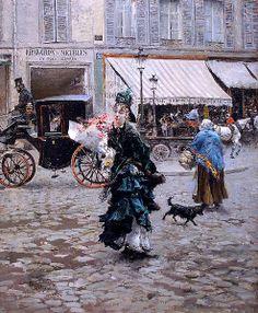 by Giovanni Boldini (Valtesse de la bigne) crossing the street