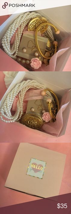 Box of jewelry 10 pieces of great jewelry Chanel You are buying a great box full of jewelry this box contains 10 pieces of jewelry each box is customized to your liking so let us know what you like and we will try our best to fill it up with what you like!! Some examples include pearl jewelry gold time jewelry boho girl jewelry  those are some examples tell us what you like we have lots of stuff to choose from and oh yaaaa each box comes with a surprise Chanel pair of earrings!  Jewelry…