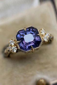 Asscher Cut Diamond Ring, Gold Diamond Wedding Band, Diamond Bands, Emerald Diamond, Pink Sapphire Ring, Ring Set, Ring Verlobung, Wedding Rings Vintage, Vintage Rings