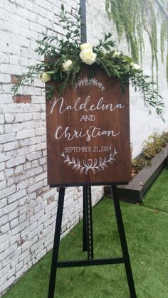 Wedding welcome custom sign on stained plywood