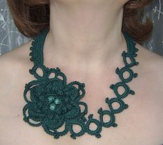 Dark green flower crochet necklace . by agatsknitting on Etsy
