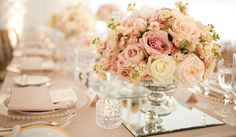 For an outdoor, day wedding! Pink, cream and gold