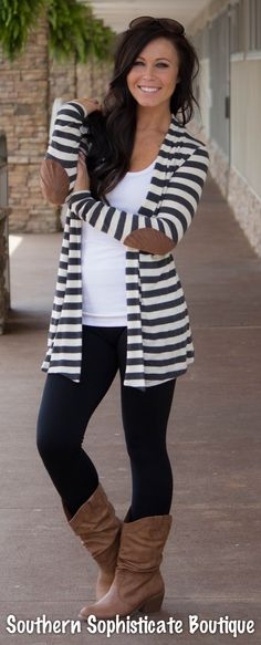 Image of Striped Elbow Patch Cardigan