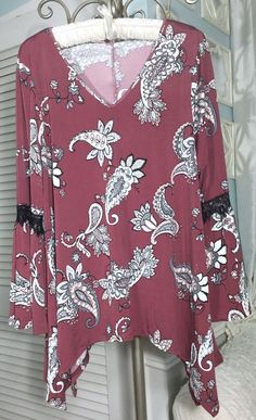 c481b31d0c7 NEW ~ Plus Size 3X Burgundy Red Rose Paisley Lace Bell Boho Top Shirt Blouse
