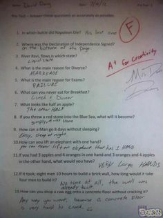 A+ for creativity, Exam Fail