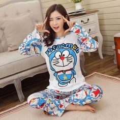 Cute Blue Doraemon Cotton Adult Sleepwear Spring and Autumn Cartoon Animal Pajama Set $15.00  #Lovejoynet #Animal #Sleepwear